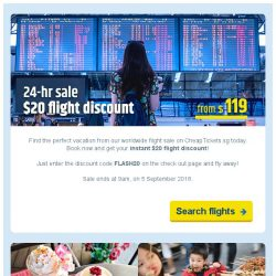 [cheaptickets.sg] ⚡ 24-hr flash sale | Flight deals from $119 + extra $20 discount OFF!
