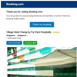[Booking.com] Village Hotel Changi by Far East Hospitality – are you still interested in staying?