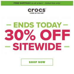 [Crocs Singapore] 【Singapore Only】 Final Day! Extra 30% off SITEWIDE‼