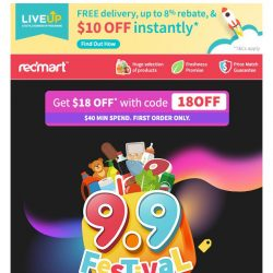 [Redmart] $18 OFF + Up to 70% OFF this 9.9 festival! 😆