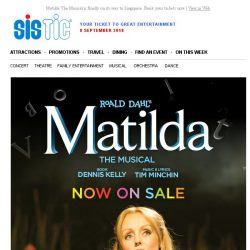 [SISTIC] Matilda The Musical is finally on its way to Singapore. Book your tickets now.