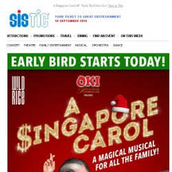 [SISTIC] A $ingapore Carol – Early Bird Now On!