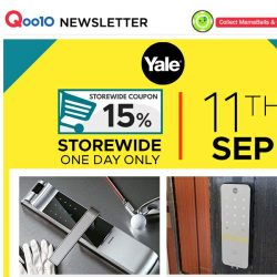 [Qoo10] Yale One Day Sale! Get 15% Storewide Coupon Ending 11:59PM Tonight!