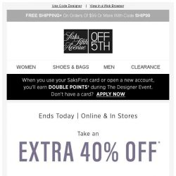 [Saks OFF 5th] Stop EVERYTHING: The Designer Preview Event is ENDING! + We picked styles just for YOU!