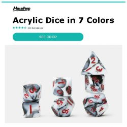 [Massdrop] MDG Mini Acrylic Marbled Dice Sets: Mix, Match & Roll for $14.99 per 4-Pack