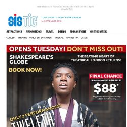 [SISTIC] FINAL REMAINING TICKETS! Shakespeare's Globe Shows - OPEN TUESDAY!