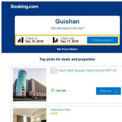 [Booking.com] Prices in Guishan are dropping for your dates!