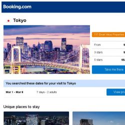 [Booking.com] Deals in Tokyo from S$ 439