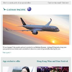 [Cathay Pacific Airways] Coming soon: our 72nd birthday celebration