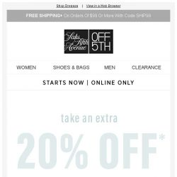 [Saks OFF 5th] Extra 20% OFF: 1,000+ summer-to-fall dresses