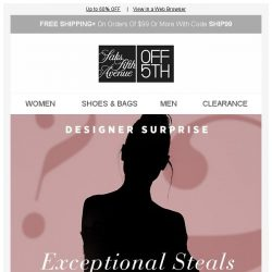 [Saks OFF 5th] Designer surprise: Up to 60% off our best brands...