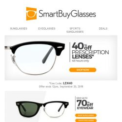 [SmartBuyGlasses] Upgrade Your Lenses With 40% Off - A Clear Saving Opportunity