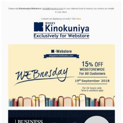 [Books Kinokuniya] ⏰ 24 hours only promotion on 19th Sep 2018! Enjoy 15% off WEBstorewide, exclusively on Kinokuniya Webstore Singapore! Shop NOW!