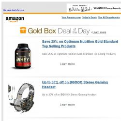 [Amazon] Save 25% on Optimum Nutrition Gold Standard Top...
