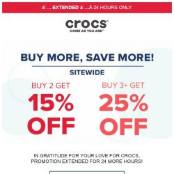 [Crocs Singapore] 【EXTENDED】 Extra 25% Off Sitewide‼️ Don't miss out on huge savings ‼️