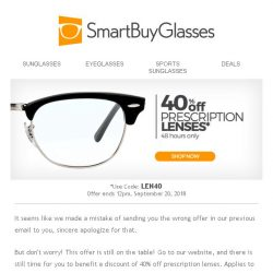 [SmartBuyGlasses] Sorry... we might have mixed up the offers yesterday. Sincere apologies for that.