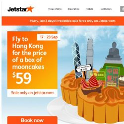 [Jetstar] ✈ Trade your mooncake for a holiday! Last 3 days to grab the Best Value sale fares!
