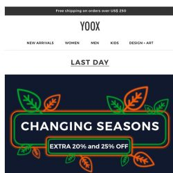 [Yoox] Fall has just begun, but the promotion is about to end!