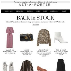 [NET-A-PORTER] Good news! The sold-out pieces you wanted are back