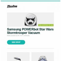 "[Massdrop] Samsung POWERbot Star Wars Stormtrooper Vacuum, Etymotic ER4SR & ER4XR IEMs, Seiko 5 SRP48X ""Baby Monster"" Automatic Watch and more..."