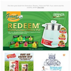 [Giant] 🙌 Too good to miss! 🎁FREE Electric Pot from 💊 Brand's and FREE Brown Rice 1Kg from 🍚 Paddyking! ⚠️ Don't MISS it!