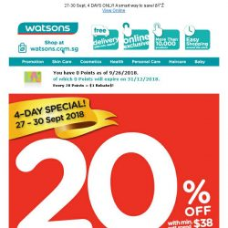 [Watsons] 20% OFF Storewide Sale + $8 CASH Voucher for participating brands