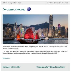 [Cathay Pacific Airways] Birthday Bonanza final offer: fly to Hong Kong from SGD248 all-in