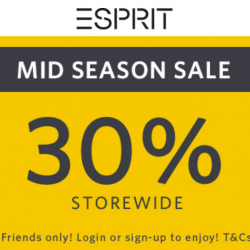 Esprit: Mid-Season Sale with 30% OFF Storewide In Stores & Online!