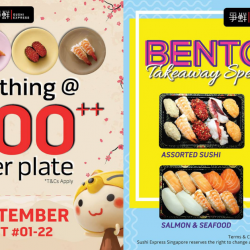 Sushi Express: Grand Opening Promo – $1++ Per Plate at Yew Tee Point & $5 Bentos!