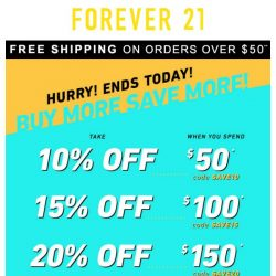 [FOREVER 21] Oops! Here's a code for 20% off!