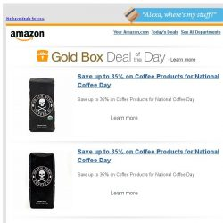 [Amazon] Save up to 35% on Coffee Products for National...