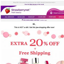 [StrawberryNet] , Extra 20% Off + Free Shipping is YOURS, so click now!