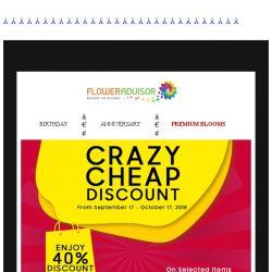 [Floweradvisor] Hi FlowerBro. Making your gf day now is 40% Off!