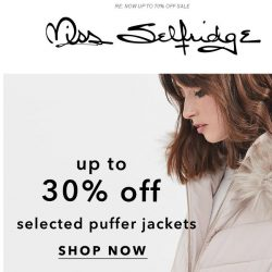 [Miss Selfridge] 💓 Up to 30% off selected puffer jackets 💓