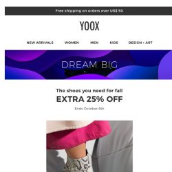 [Yoox] EXTRA 25% OFF footwear from our top brands: Giuseppe Zanotti, Maison Margiela and more…