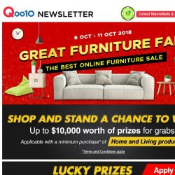 [Qoo10] The Great Furniture Fair is HERE! Purchase and stand a chance to win attractive prizes!