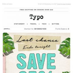 [typo] Last chance to save 25%!