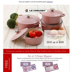[LeCreuset] Le Creuset - Tangs 86th Anniversary Antique Rose Cast Iron Collection Exclusive - UP TO 57% OFF
