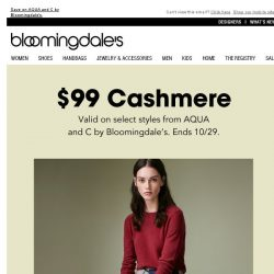 [Bloomingdales] Women's cashmere: $99