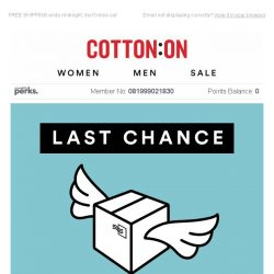 [Cotton On] Pay nothing for delivery - but not for long!