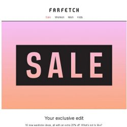 [Farfetch] Update yourself with an extra 20% off these sale picks