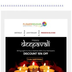 [Floweradvisor] Brighten up their day on this festival of lights. Even brighter with 15% off!
