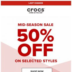 [Crocs Singapore] 【ENDS SOON】 Don't miss out — Crocs' Mid-Season Sale: Up to 50% Off!