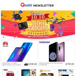 [Qoo10] Missed Those 10.10 Deals? Not To Worry! Tech & Gadgets Extended Just For You! Fr. 12th - 14th Oct.