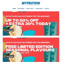 [MyProtein] Up to 50% off + extra discounts?! 😮