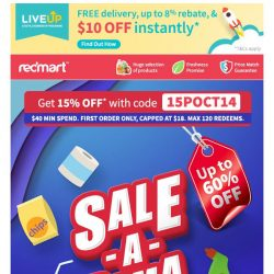 [Redmart] ⚠️Up to $18 OFF with code 15POCT14