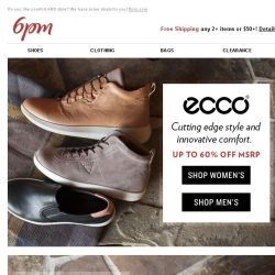 [6pm] Up to 60% off ECCO and Rockport! WOW!