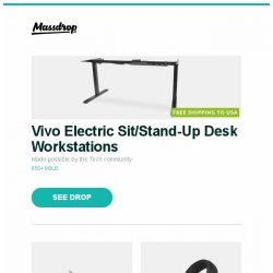 [Massdrop] Vivo Electric Sit/Stand-Up Desk Workstations, Mcusta MC-12 Limited-Edition Tactility Elite Knife, Beyerdynamic DT770 Pro and more...