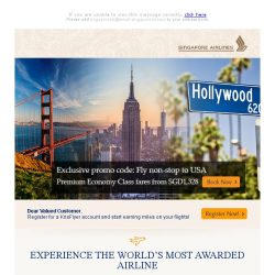 [Singapore Airlines] 4 days left: Premium Economy to USA from SGD1328