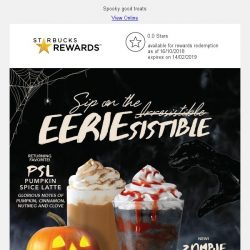 [Starbucks] Pumpkin Spice Latte & Zombie Frappuccino® are here for Halloween 🎃